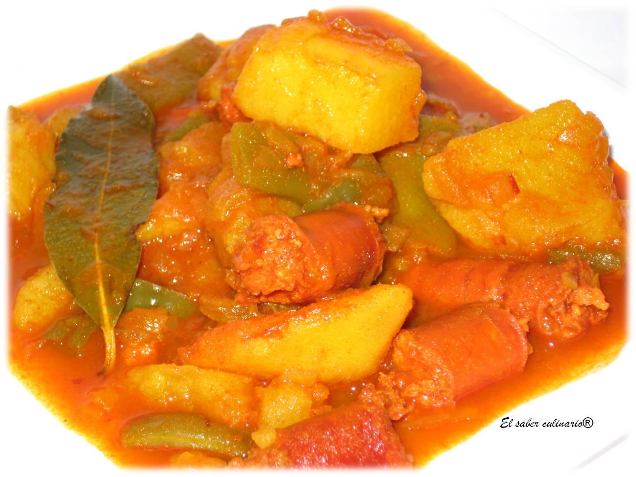 Receta de patatas a la riojana con jud as verdes el saber culinario - Judias con chorizo y patatas ...