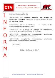 C.T.A. INFORMA CRÉDITO HORARIO VÍCTOR GONZALEZ, ABRIL 2017