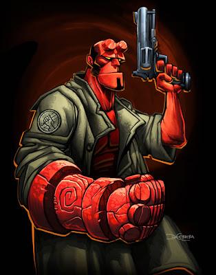 Dibujo de Hellboy con un arma