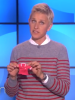Ellen mocks tiny clothes at Abercrombie & Fitch