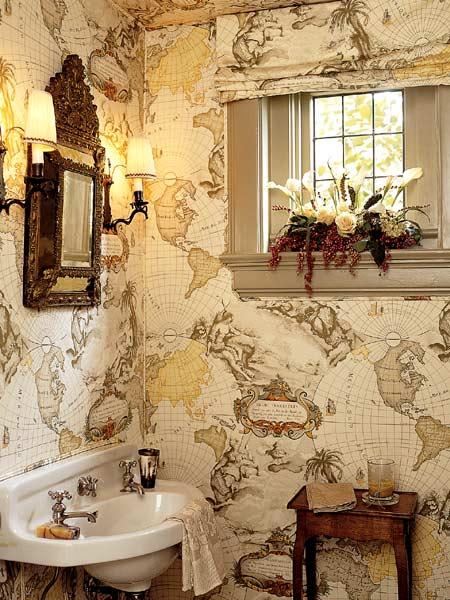 Decorar Un Baño Con Papel Pintado:Bathroom with Vintage Map