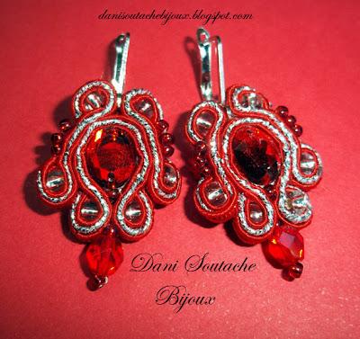 brincos em soutache nas cores vermelho e prata