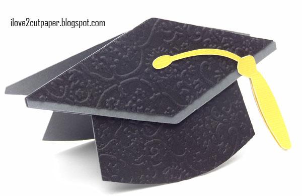 i love 2 cut paper Hat off to You Graduation Cap shaped card – Graduation Cap Invitation