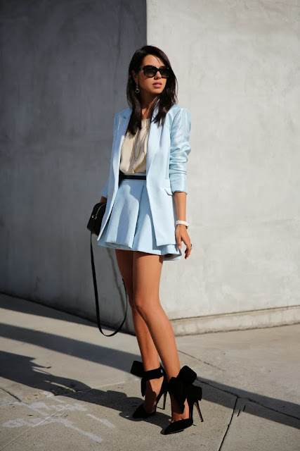 sky blue skirt,coat and black pumps