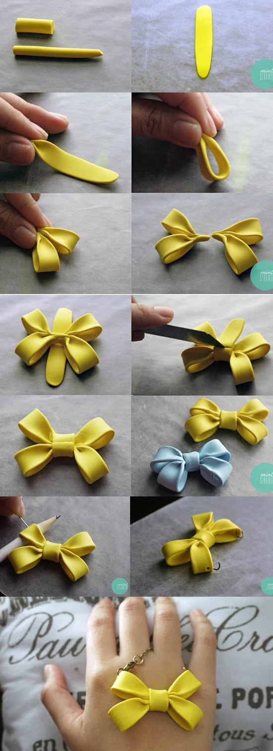 Clay double bow necklace