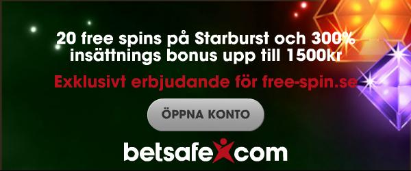 exklusivt betsafe erbjudande för free-spin.se