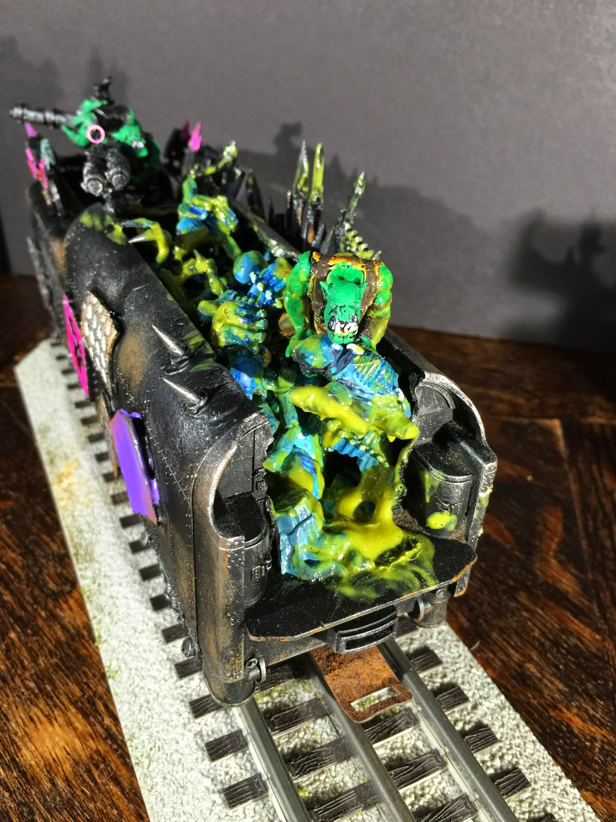 Tyranid bodies for fuel; Ork Modified Train; Battle Gaming One
