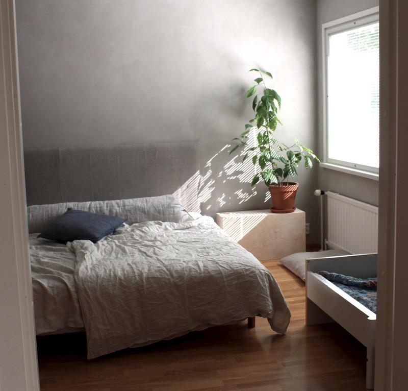 pehmeät sävyt makuuhuoneesa