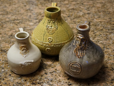 Beautiful pottery Bartmann or Bellarmine jugs (replica) by Lily L.