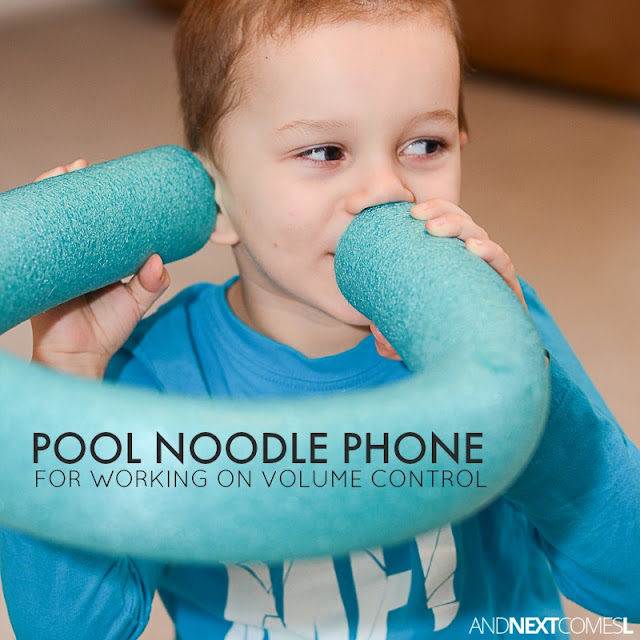 DIY pool noodle phone for kids - a great way to work on volume control and listening skills with kids, especially those with autism from And Next Comes L