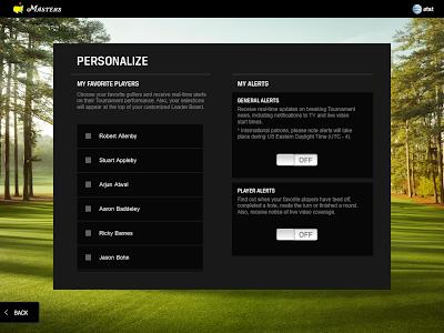 US Masters iPad app - personalisation
