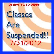 Suspension of Classes Announcements: July 31, 2012.