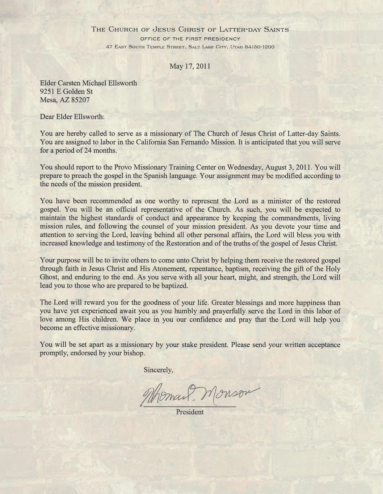 Here is my mission letter from President Monson...