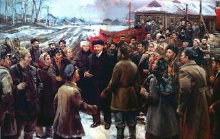 Ocho pinturas sobre Lenin en vísperas del aniversario de su muerte  Lenin+en+pueblo+campesino.nalbandian+1985