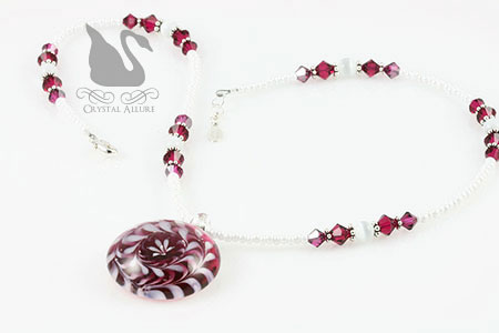 Peppermint Twist Lampwork Pendant Crystal Beaded Necklace (N091)