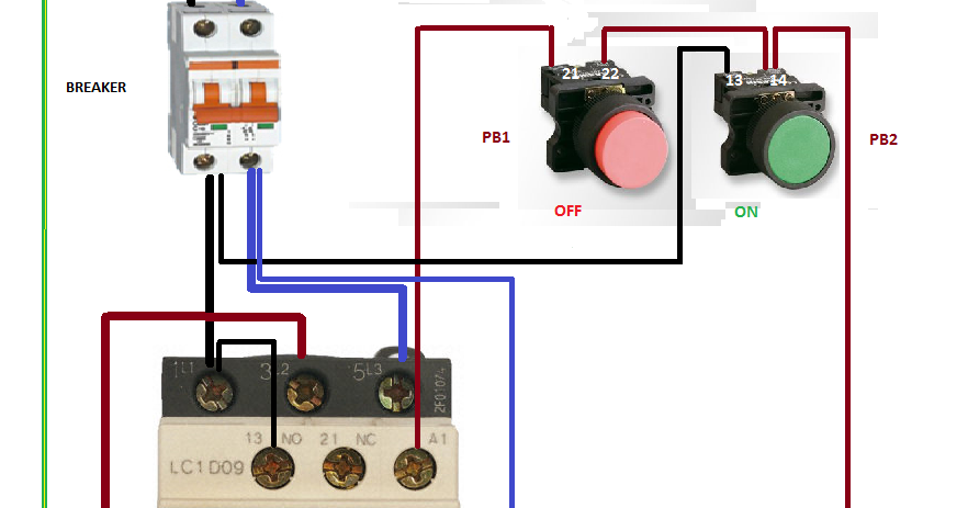 Electrical Diagrams  Relay Contactor With Push Button On Off Control