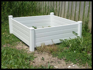 first of two PVC raised garden boxes assembled