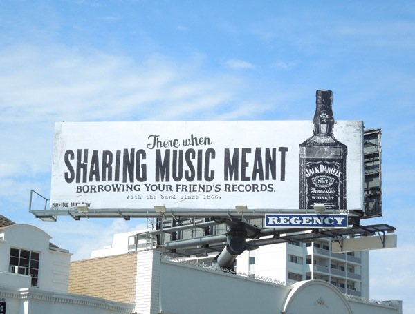 sharing music meant borrowing friends records Jack Daniels billboard
