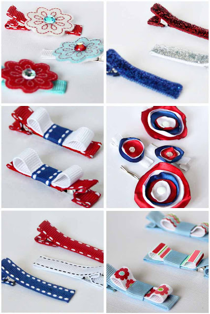 patriotic hair clips by SweeterThanSweets