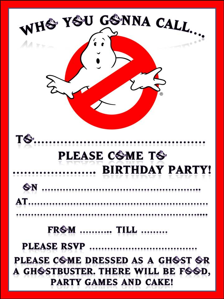 free ghostbusters invitations