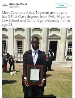 Meet 23-year-old Nigerian who has 3 First Class degrees from OAU, Nigerian Law School and Cambridge University