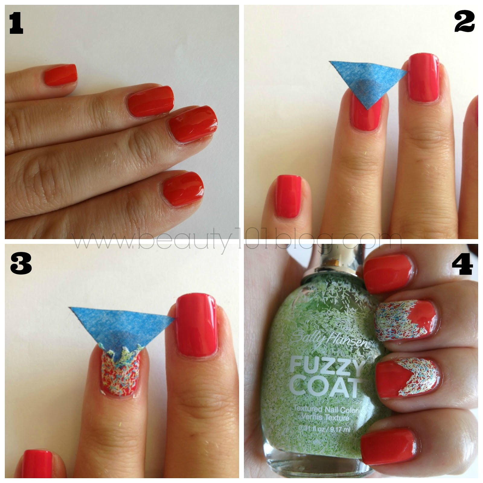 Sally Hansen Fuzzy Coat Color Block Nails Tutorial - Beauty 101