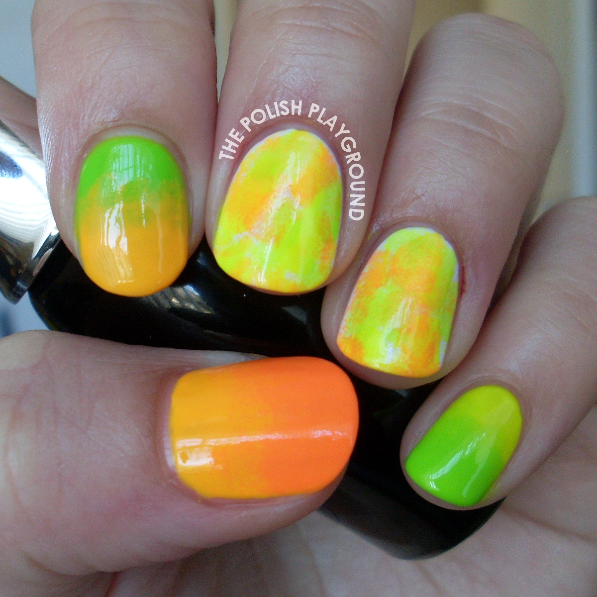 Neon Sponging and Gradient Nail Art