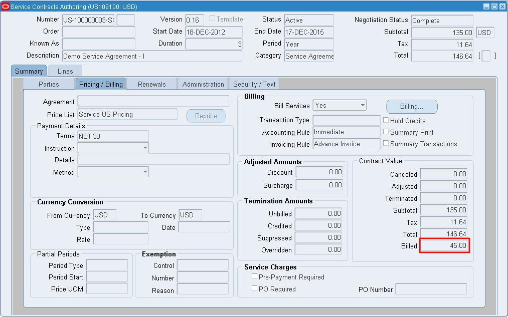 Oracleappsnfusion Oracle Service Contracts  PartV Billing A