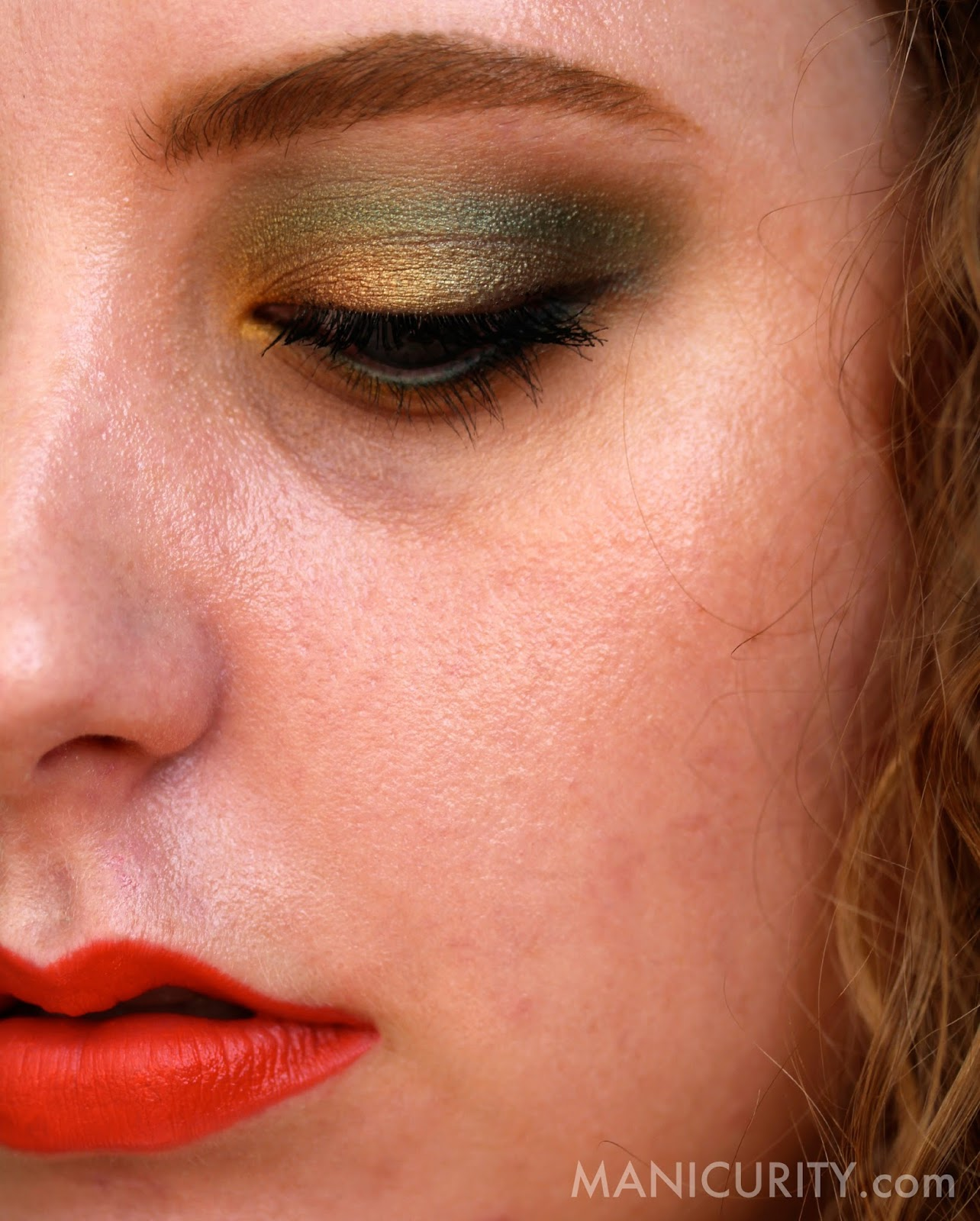 St. Paddy's 2014 Makeup Look - gold and green eye look with orange lips! | Manicurity.com
