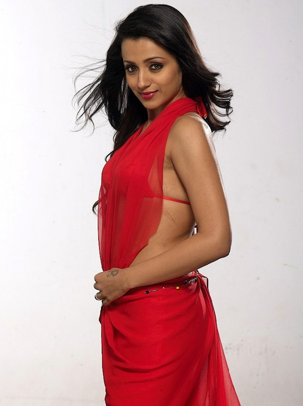 Trisha in red transparent dress