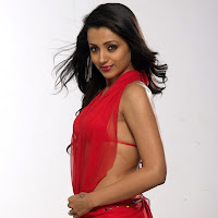 Trisha in red transparent dress