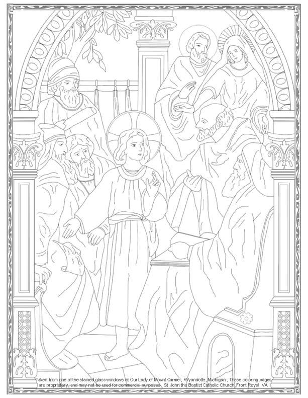 Jesús perdido en el Templo, por tres días colorear