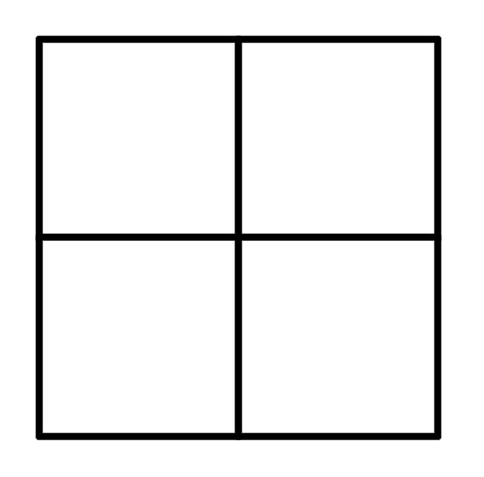 как разделить фото на 4 равные части