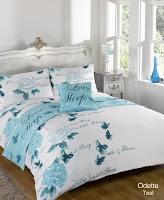 Dreamscene Double Polyester Odette Teal Duvet Cover Bedding Set