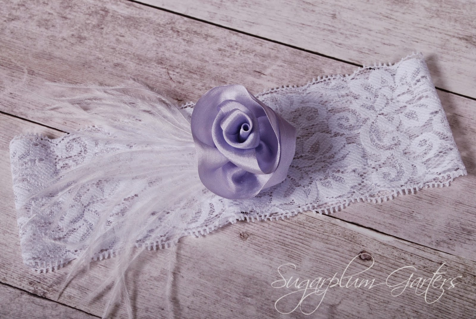 Wedding Garter in Lavender Silk and White Lace by Sugarplum Garters