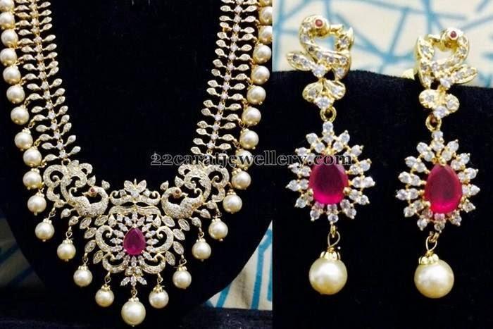 Latest 1gram Gold Pearls Hanging Set