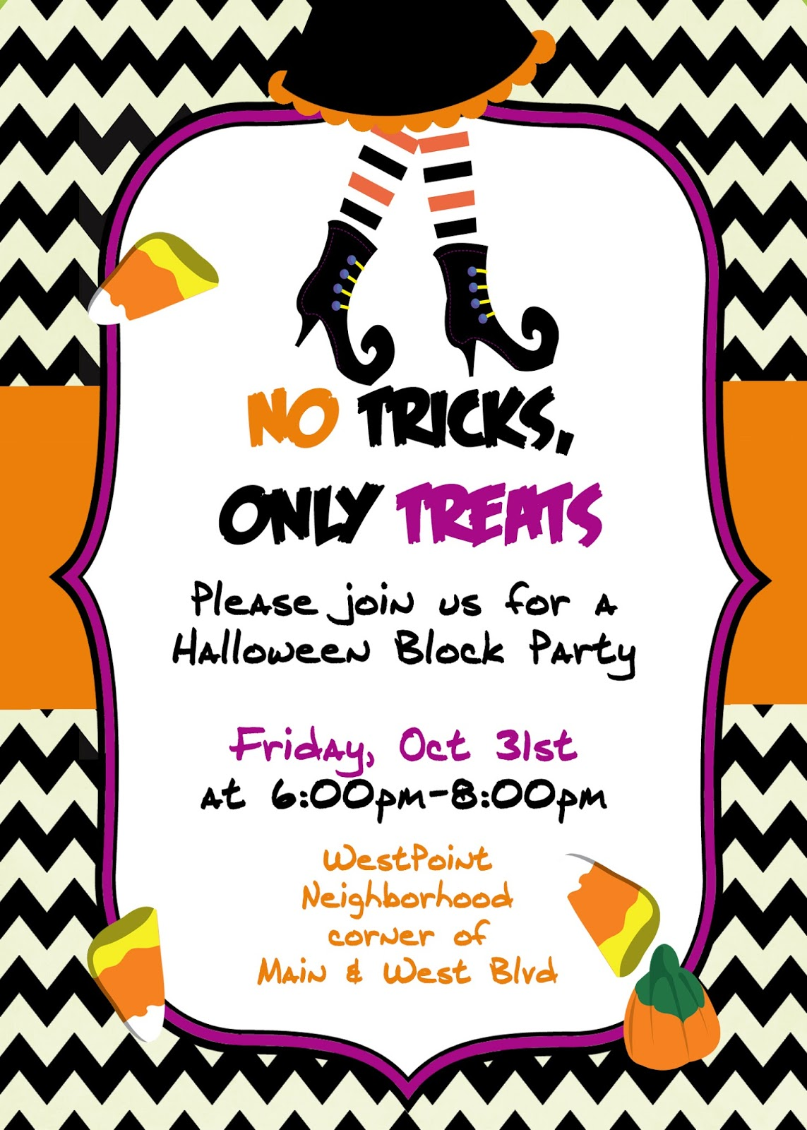 Sugar And Spice Invitations Trick Or Treat Halloween Is