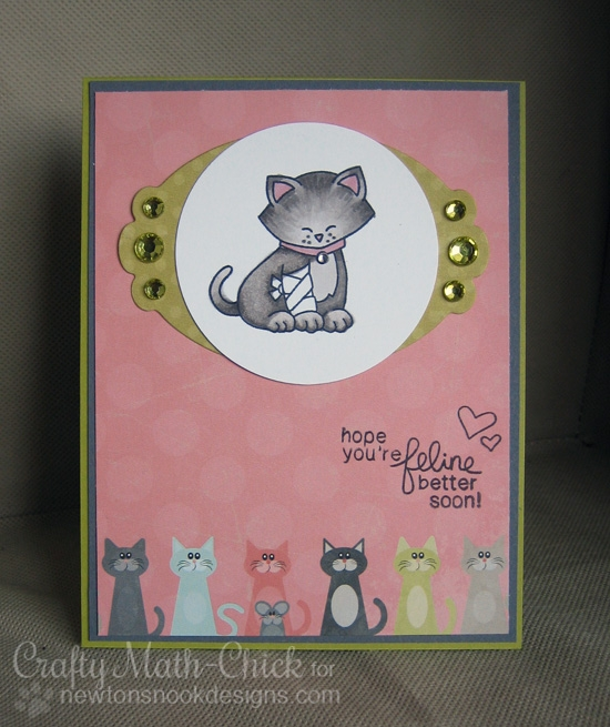 Hope You're Feline Better Soon Card by Crafty Math-Chick | Newton's Sick Day Stamp set by Newton's Nook Designs