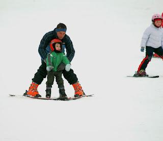 Nauka jazdy na nartach, ferie z dzieckiem, Beskid Niski, stok