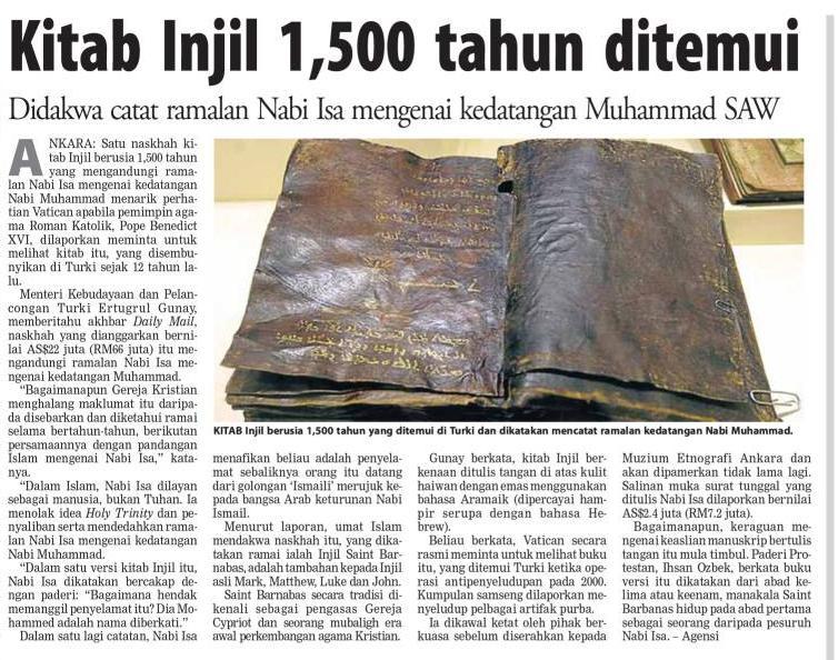Injil yang Menubuwatkan Kedatangan Nabi Muhammad Ditemukan di Turki