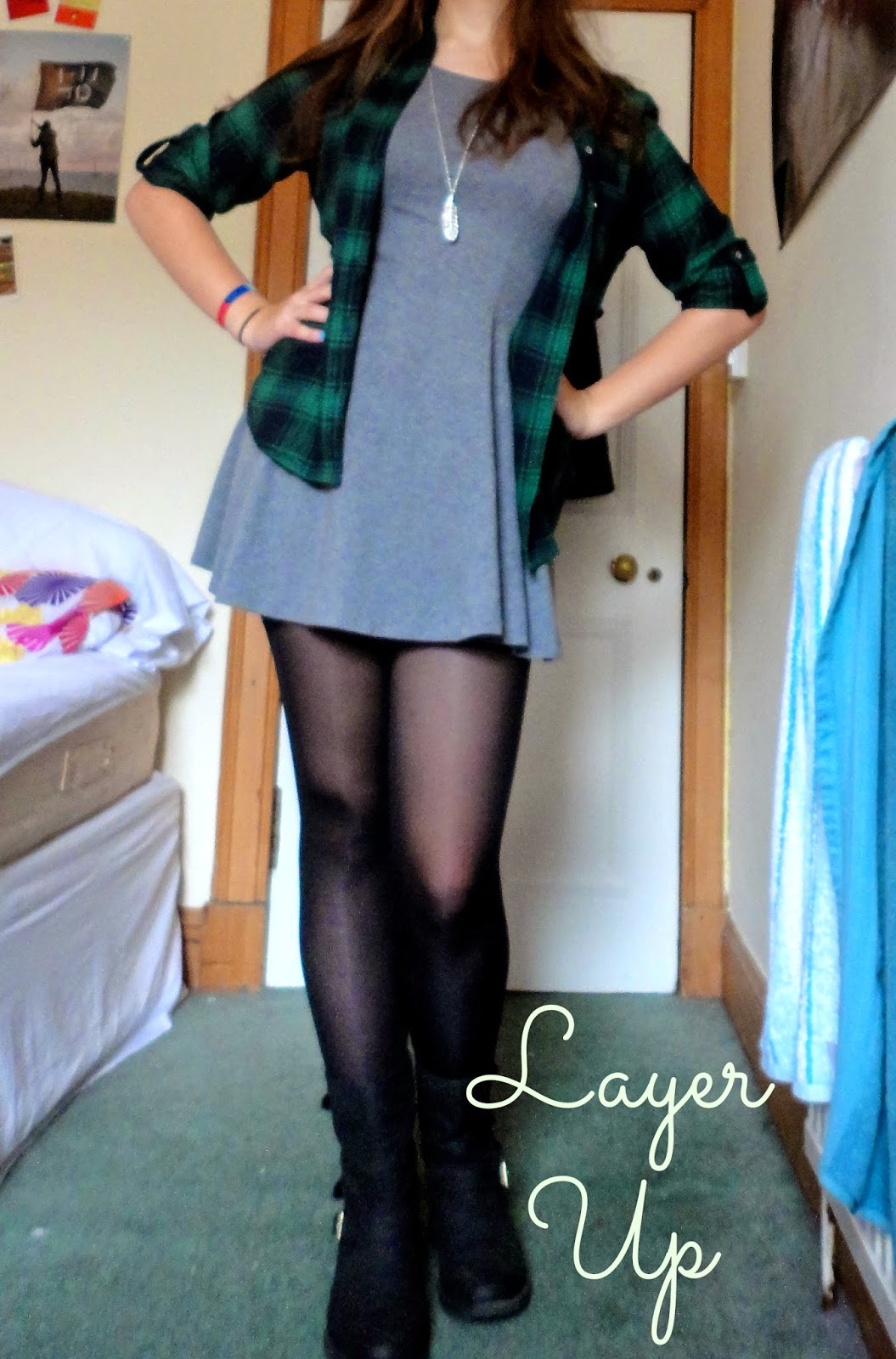 grey dress green checked plaid shirt outfit layer up text