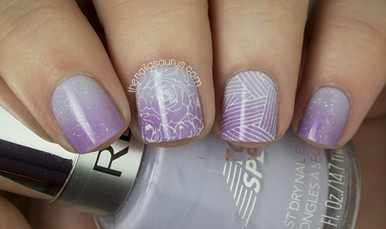 Purple Gradient Nail Art with MoYou Stamping