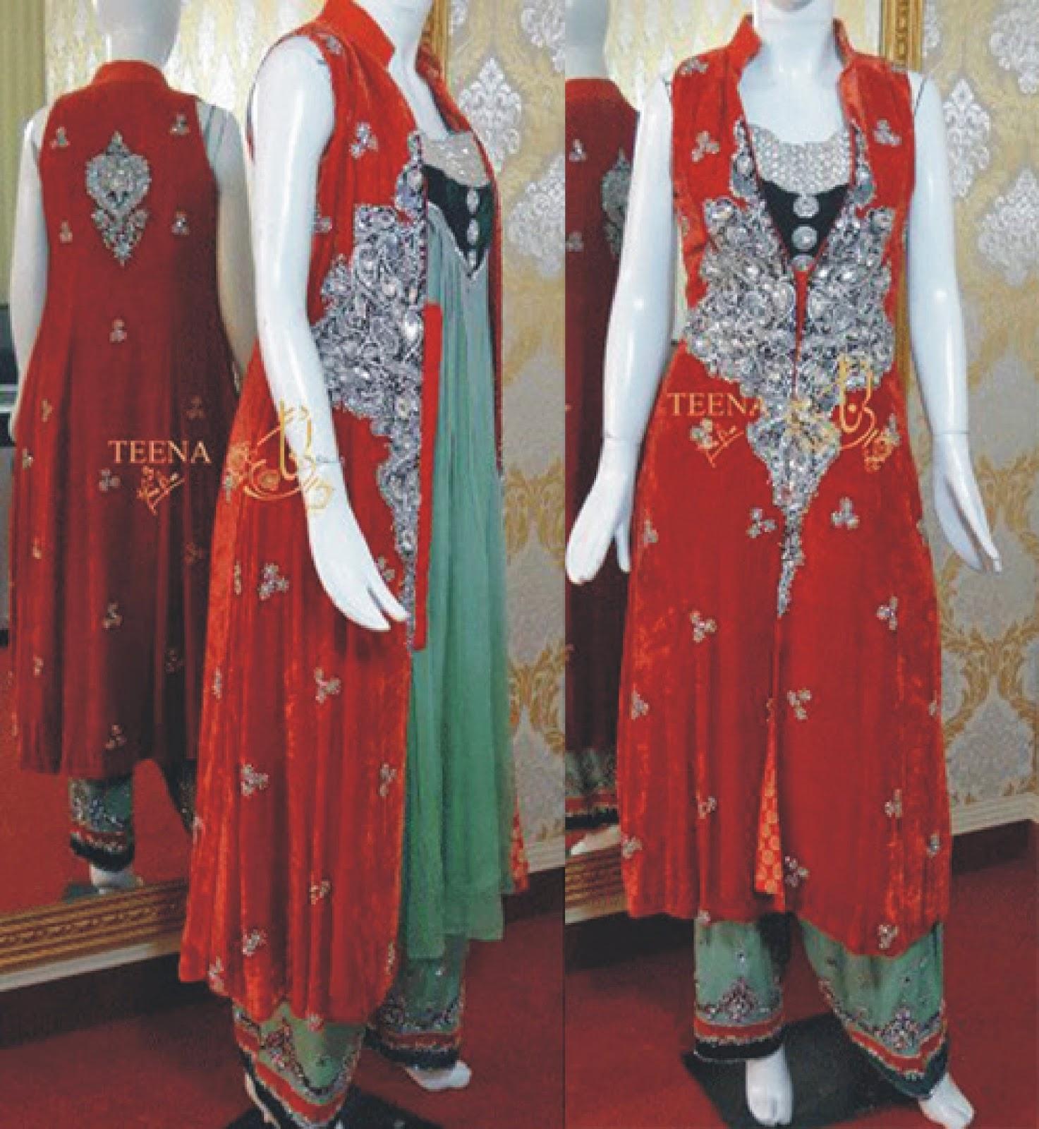 Double shirt dress design - Pakistani Double Shirt Open Style Dress Design