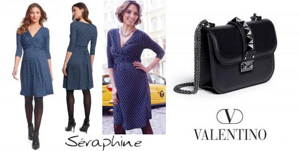 Princess Victoria's SERAPHINE Bubble Maternity Dress And VALENTINE Small Chain Shoulder Bag