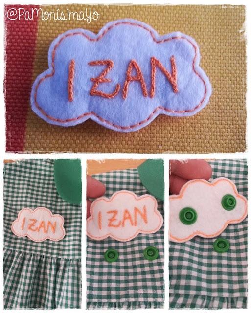 Nombre bordado babi nube Izan