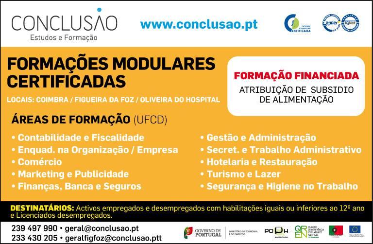 Formação financiada com atribuição do subsídio de alimentação – Coimbra, Figueira da Foz e Oliveira do Hospital