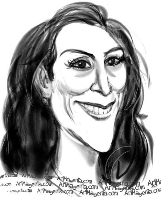 Ricki Lake caricature cartoon. Portrait drawing by caricaturist Artmagenta.