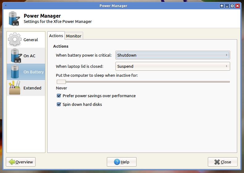Fitur Power Management di XFCE