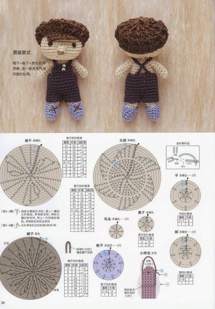 Схемы вязания мальчика и медвежки амигуруми (1)
