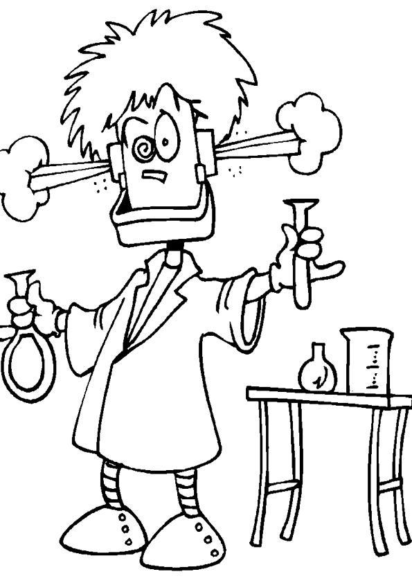 colorear cientifico loco   Dibujos para colorear